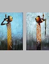 Недорогие -Ручная роспись Абстракция Горизонтальная панорама, Modern холст Hang-роспись маслом Украшение дома 2 панели