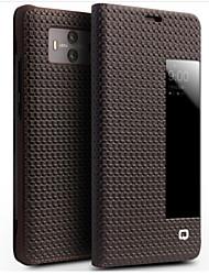 Недорогие -Кейс для Назначение Huawei Mate 10 Защита от удара с окошком Флип Чехол Сплошной цвет Твердый Настоящая кожа для Mate 10