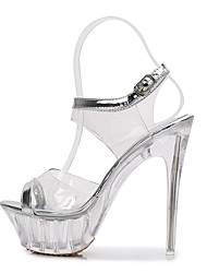 preiswerte -Damen Schuhe PVC Sommer Herbst Pumps Sandalen Stöckelabsatz Offene Spitze Schnalle für Hochzeit Party & Festivität Klar