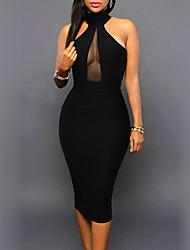 abordables -Femme Slim Moulante Robe - Ouvert Ruché, Couleur Pleine Taille Haute Col en V