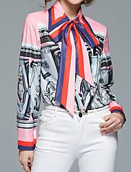 cheap -Women's Street chic Puff Sleeve Shirt - Color Block, Print Shirt Collar