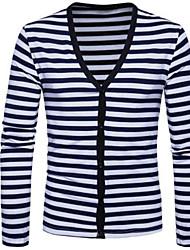 cheap -Men's Long Sleeves Cardigan - Striped, Print V Neck
