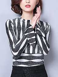 cheap -Women's Long Sleeves Loose Pullover - Striped Crew Neck