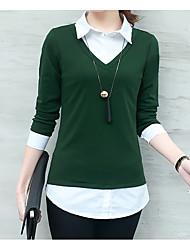 cheap -Women's Basic Cotton Shirt V Neck / Shirt Collar
