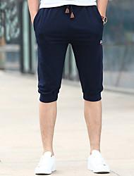 Недорогие -мужские обычные среднего роста микро-эластичные брюки шорты брюки, старинный твердый хлопок льняной бамбук волокна акриловая весна