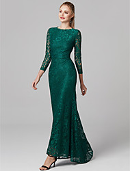 cheap -Mermaid / Trumpet Jewel Neck Asymmetrical Lace Prom / Formal Evening Dress with Lace by TS Couture®