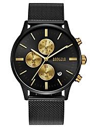 Недорогие -BAOGELA Муж. Китайский С тремя часовыми поясами / Хронометр сплав Группа На каждый день / Мода Черный / Серебристый металл / Золотистый / Два года