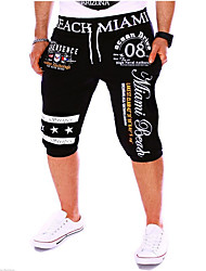 cheap -Men's Sporty / Active Cotton Chinos / Sweatpants Pants - Letter Print