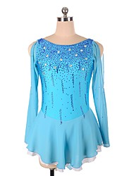 cheap -Figure Skating Dress Women's / Girls' Ice Skating Dress Sky Blue Spandex strenchy Professional Skating Wear Rhinestone / Sequin Long