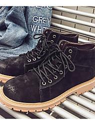 Homens sapatos Couro de Porco Inverno Outono Coturnos Conforto Botas Botas Curtas / Ankle para Casual Preto Cinzento Khaki