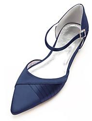 economico -Per donna Scarpe Raso Primavera / Estate Comoda / D'Orsay scarpe da sposa Piatto Appuntite Nastro Blu scuro / Argento / Avorio