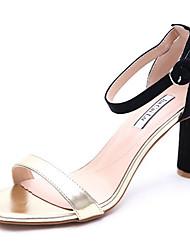 preiswerte -Damen Schuhe PU Frühling Sommer Pumps Komfort Sandalen Blockabsatz für Normal Gold Weiß Beige