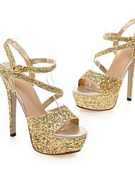 preiswerte -Damen Schuhe PU Frühling Sommer Pumps Komfort Sandalen Stöckelabsatz für Gold Weiß Schwarz Silber