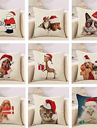 abordables -9 pcs Coton/Lin Taie d'oreiller Nouveaux Oreillers Housse de coussin, Noël Vacances Vacances Noël