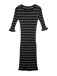 povoljno -Žene Vintage Bodycon Haljina - Drapirano, Jednobojni Do koljena