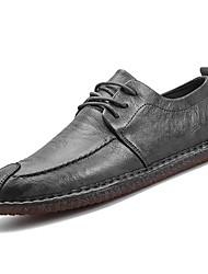 Недорогие -Муж. обувь Искусственное волокно Зима Весна Удобная обувь Туфли на шнуровке для Повседневные Черный Серый Коричневый