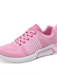 abordables -Femme Chaussures Tricot PU de microfibre synthétique Printemps Eté Confort Basket Marche Talon Plat Bout rond pour Noir Gris Rose