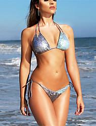 cheap -Women's Halter Triangle Bikini - Color Block Sequins Cheeky