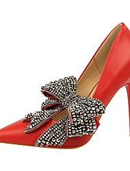 abordables -Femme Chaussures Similicuir Printemps Automne Confort Chaussures à Talons Talon Aiguille Bout fermé pour Bureau et carrière Blanc Noir