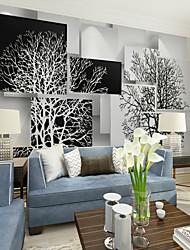 abordables -noir et blanc art arbre personnalisé 3d grand mur revêtement mural papier peint approprié restaurant tv fond arbre