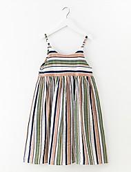 cheap -Girl's Striped Dress Summer Simple Rainbow