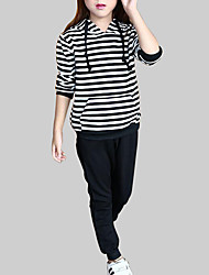 cheap -Girls' Sports Striped Clothing Set, Rayon Spring Fall Long Sleeves Casual Black