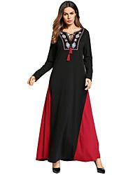 Недорогие -Жен. Классический Богемный Свободный силуэт Платье - Контрастных цветов, Вышивка V-образный вырез Макси Черный