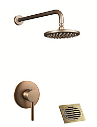 cheap -Shower Faucet - Antique / Country Antique Brass / Antique Copper Shower System Ceramic Valve / Single Handle Three Holes