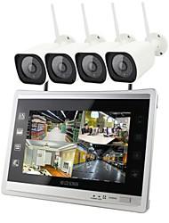 economico -4ch wireless nvr kit 12.5 pollici schermo 4 pz ip fotocamera 960 p impermeabile ir notte sistema di visione notturna