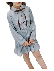 cheap -Girl's Daily Solid Dress, Cotton Polyester Spring Long Sleeves Simple Light Blue