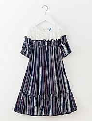 Недорогие -Девичий Платье Полоски Лето Простой Цвет радуги