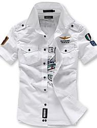 Недорогие -Муж. Повседневные Лето Рубашка, Рубашечный воротник Простой Геометрический принт С короткими рукавами Полиэстер