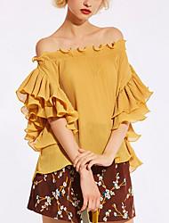 baratos -Mulheres Blusa Moda de Rua Sólido Decote Canoa / Frufru