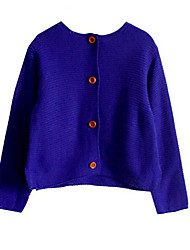 cheap -Girls' Daily Solid Sweater & Cardigan, Polyester Spring Long Sleeves Simple Blue Red Yellow Fuchsia Light gray