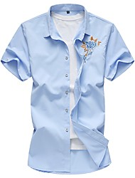 Недорогие -Муж. Рубашка Тонкие Цветочный принт Хлопок