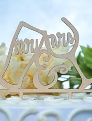 abordables -Décorations de Gâteaux Thème classique Mariage nouveau Découpé Bois/Bambou Mariage Anniversaire avec Évidé 1 O-phénylphénol