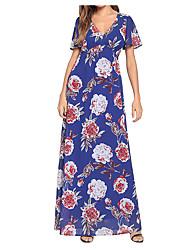 abordables -Mujer Boho Algodón Corte Ancho Corte Swing Vestido - Estampado, Floral Maxi Escote en V Profunda / Primavera / Verano