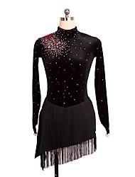 abordables -Robe de Patinage Artistique Femme / Fille Patinage Robes Noir Spandex Tenue de Patinage Paillette Sans Manches Patinage Artistique