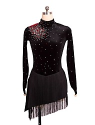 cheap -Figure Skating Dress Women's Girls' Ice Skating Dress Black Skating Wear Sequin Sleeveless Figure Skating