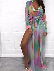abordables -Femme Bohème Vêtement couvrant - Imprimé, Couleur Pleine Arc-en-ciel