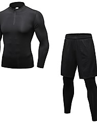 baratos -Homens activewear Set - Azul, Cinzento, Azul Marinho Escuro Esportes Sólido Leggings / Conjuntos de Roupas Cooper Manga Longa / Pant Long Roupas Esportivas Respirabilidade Com Stretch