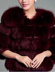 baratos -Mulheres Casaco de Pêlo Básico - Sólido, Pêlo Sintético