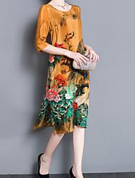cheap -Women's Silk Loose Loose Dress - Animal / Summer