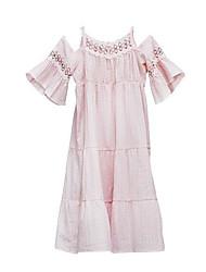 abordables -Robe Fille de Quotidien Couleur Pleine Coton Printemps Eté simple Décontracté Rose Claire