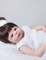cheap -NPK DOLL Reborn Doll Baby 22 inch Full Body Silicone / Silicone / Vinyl - lifelike, Hand Applied Eyelashes, Tipped and Sealed Nails Kid's Unisex Gift / CE Certified / Natural Skin Tone / Floppy Head