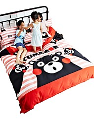 cheap -Duvet Cover Sets Cartoon 4 Piece Polyster Printed Polyster 1pc Duvet Cover 2pcs Shams 1pc Flat Sheet
