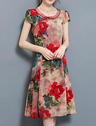 abordables -Femme Chinoiserie Trapèze Robe Fleur Mi-long