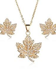 cheap -Women's Cubic Zirconia Jewelry Set - Zircon Leaf Sweet, Elegant Include Stud Earrings / Pendant Necklace Gold / Silver For Wedding / Party