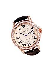 preiswerte -Damen Quartz Modeuhr Japanisch Armbanduhren für den Alltag Echtes Leder Band Freizeit Schwarz Weiß Rot Braun