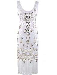abordables -Gatsby le magnifique Gatsby / Années 20 Costume Femme Robes Blanc / Noir Vintage Cosplay Polyester Sans Manches